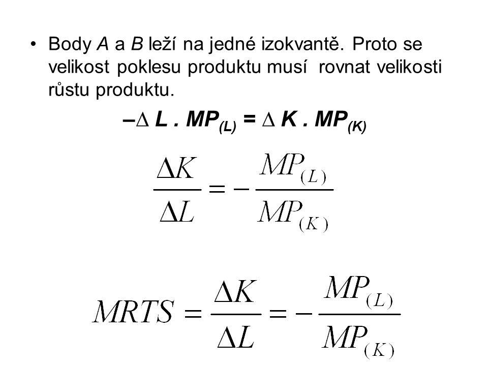 Body A a B leží na jedné izokvantě.