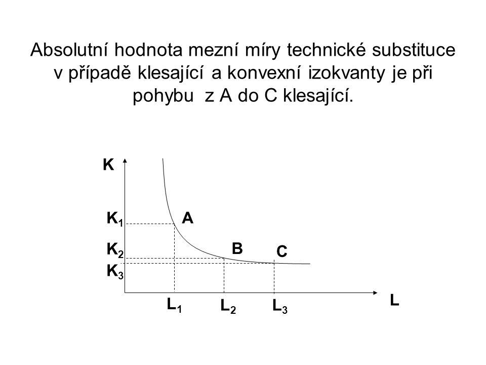 A B K1K1 K2K2 L1L1 L2L2 L K C K3K3 L3L3 Absolutní hodnota mezní míry technické substituce v případě klesající a konvexní izokvanty je při pohybu z A do C klesající.