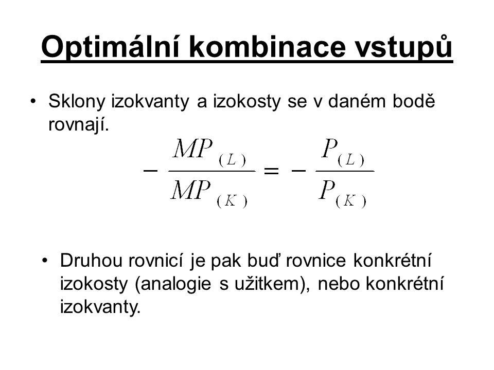 Optimální kombinace vstupů Sklony izokvanty a izokosty se v daném bodě rovnají.