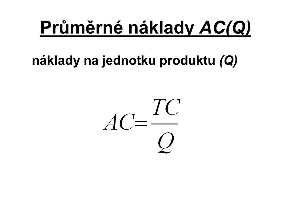 Průměrné náklady AC(Q) náklady na jednotku produktu (Q)