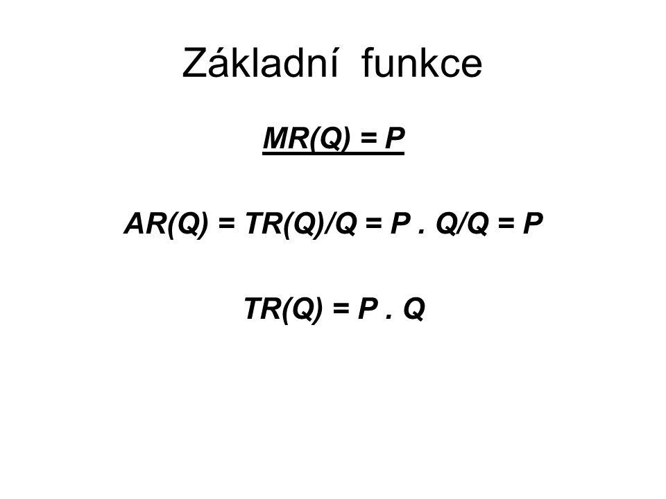 Základní funkce MR(Q) = P AR(Q) = TR(Q)/Q = P. Q/Q = P TR(Q) = P. Q
