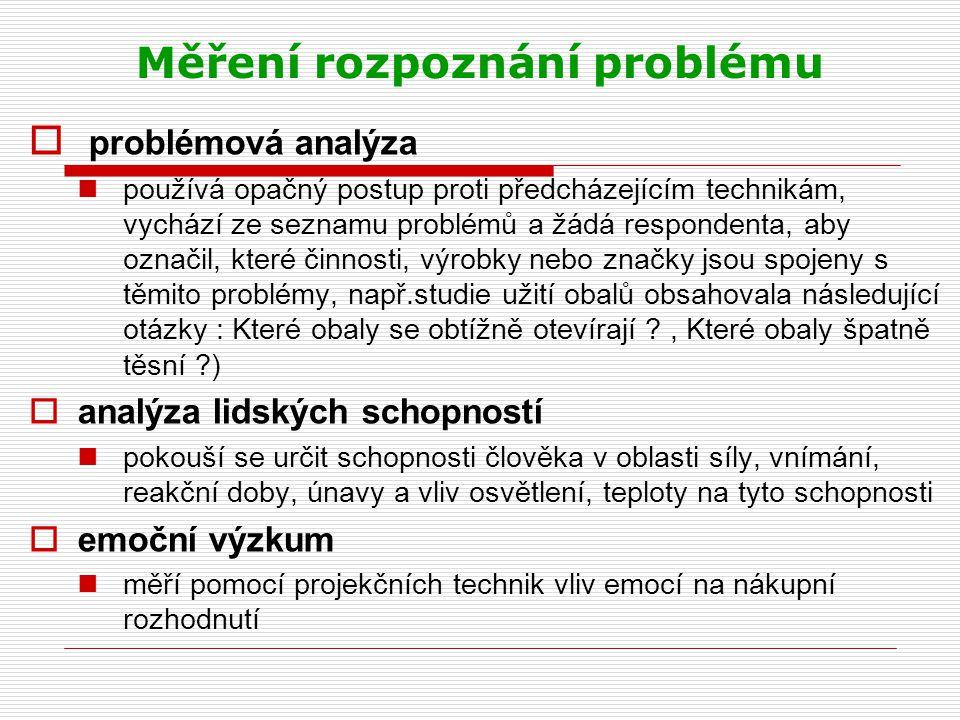 Měření rozpoznání problému  problémová analýza používá opačný postup proti předcházejícím technikám, vychází ze seznamu problémů a žádá respondenta,