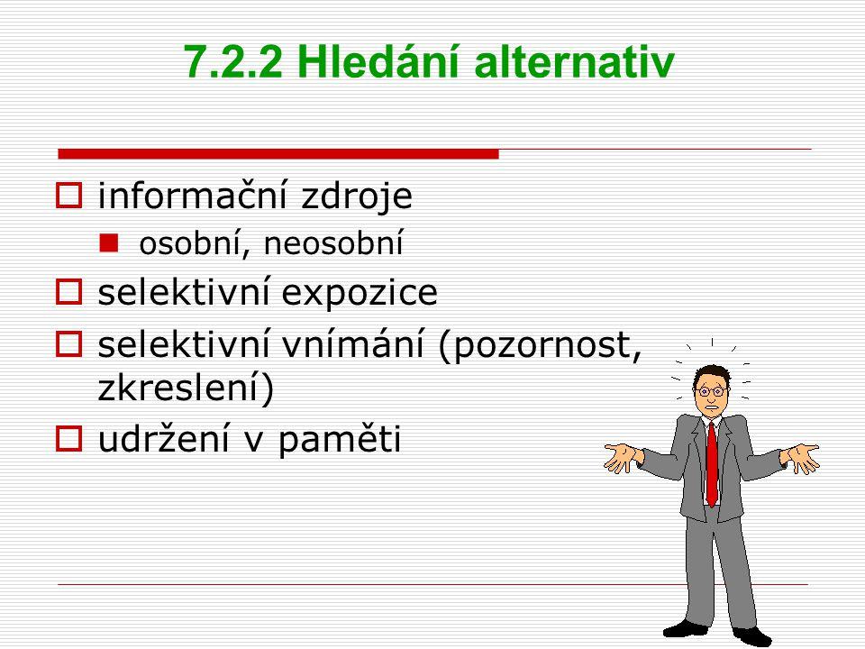 7.2.2 Hledání alternativ  informační zdroje osobní, neosobní  selektivní expozice  selektivní vnímání (pozornost, zkreslení)  udržení v paměti