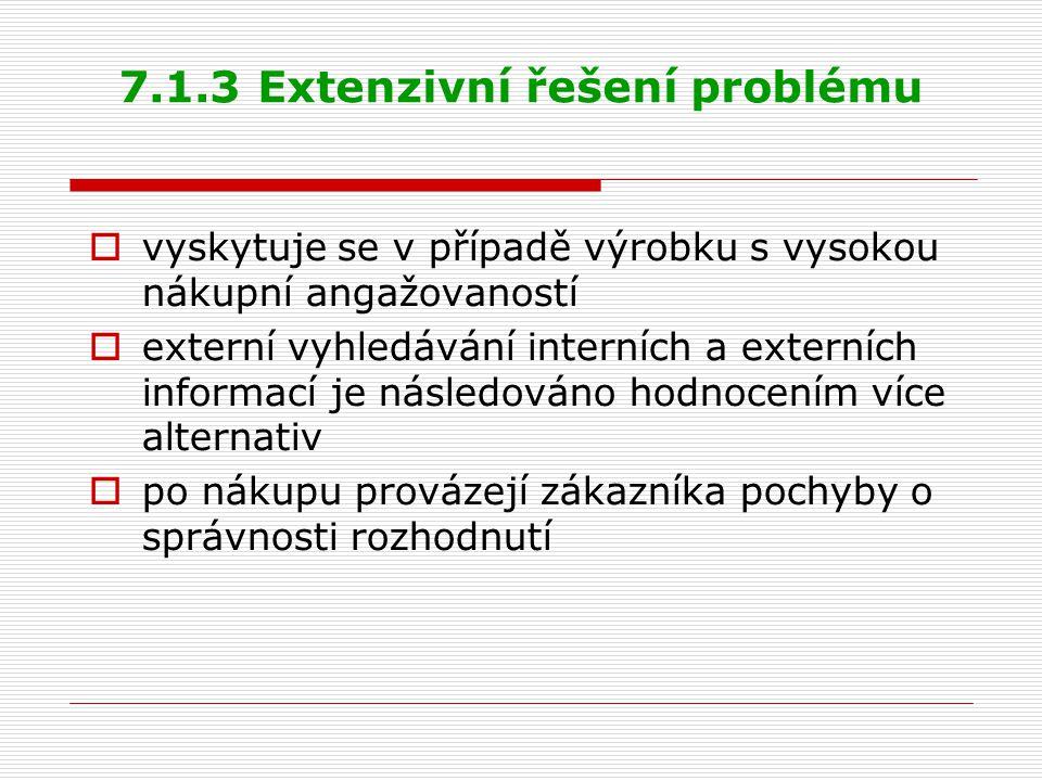 7.1.3 Extenzivní řešení problému  vyskytuje se v případě výrobku s vysokou nákupní angažovaností  externí vyhledávání interních a externích informac