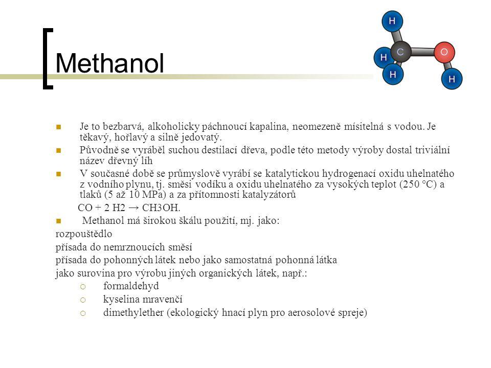Ethanol Je bezbarvá, zápalná chemická látka Je to hořlavina 1.