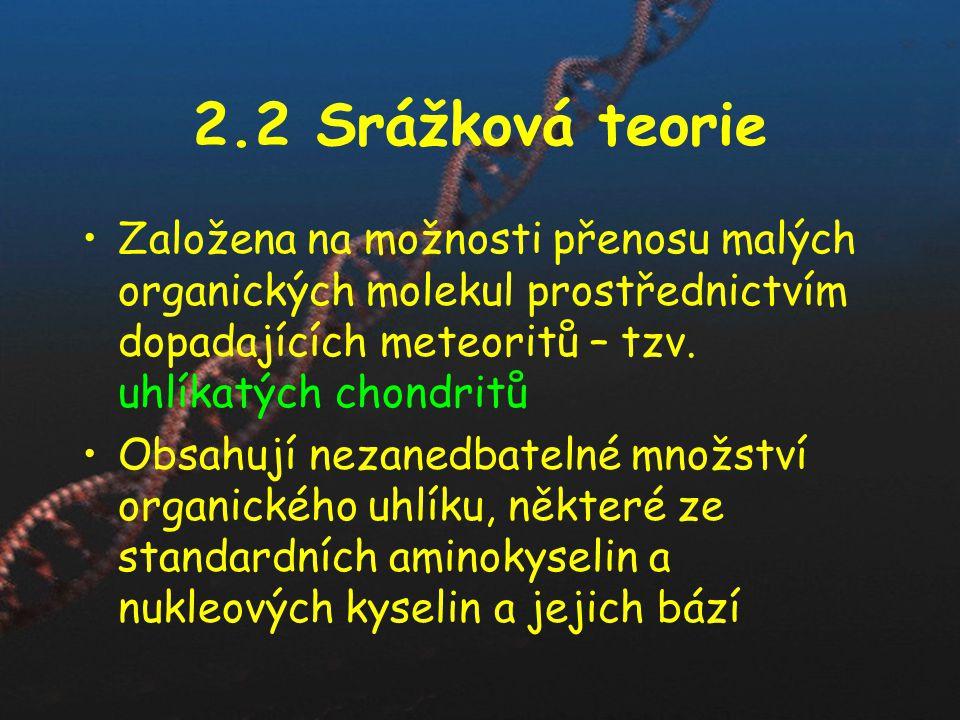 2.2 Srážková teorie Založena na možnosti přenosu malých organických molekul prostřednictvím dopadajících meteoritů – tzv. uhlíkatých chondritů Obsahuj