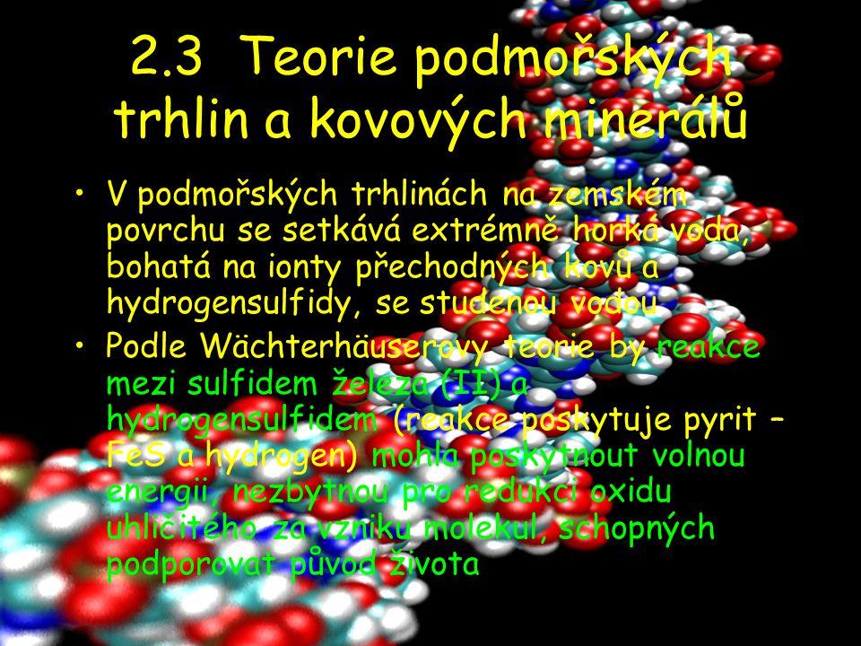 2.3 Teorie podmořských trhlin a kovových minerálů V podmořských trhlinách na zemském povrchu se setkává extrémně horká voda, bohatá na ionty přechodný