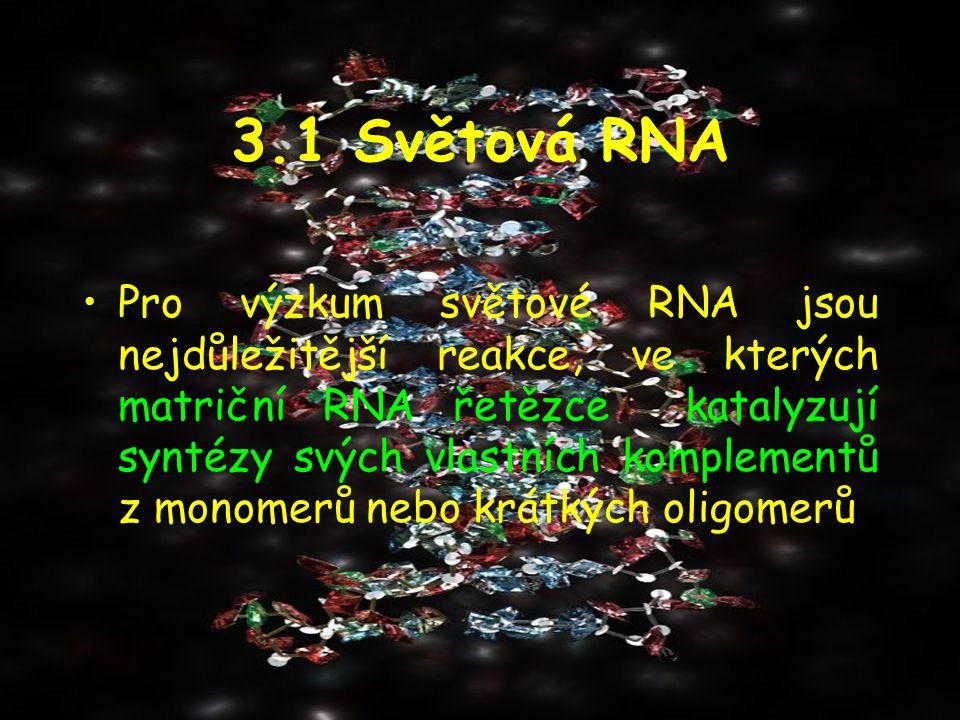 3.1 Světová RNA Pro výzkum světové RNA jsou nejdůležitější reakce, ve kterých matriční RNA řetězce katalyzují syntézy svých vlastních komplementů z mo