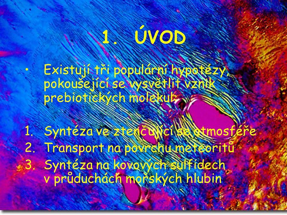 1. ÚVOD Existují tři populární hypotézy, pokoušející se vysvětlit vznik prebiotických molekul: 1.Syntéza ve ztenčující se atmosféře 2.Transport na pov