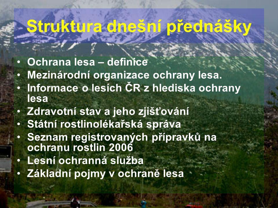 Struktura dnešní přednášky Ochrana lesa – definice Mezinárodní organizace ochrany lesa. Informace o lesích ČR z hlediska ochrany lesa Zdravotní stav a