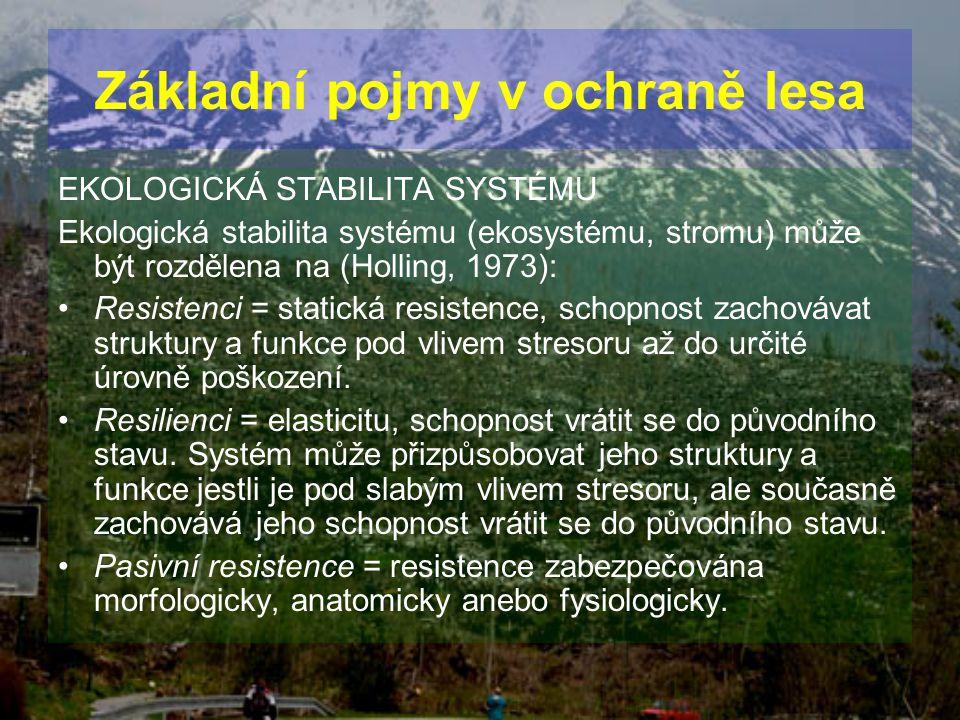 EKOLOGICKÁ STABILITA SYSTÉMU Ekologická stabilita systému (ekosystému, stromu) může být rozdělena na (Holling, 1973): Resistenci = statická resistence
