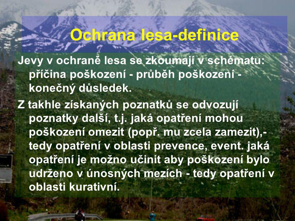 Jevy v ochraně lesa se zkoumají v schématu: příčina poškození - průběh poškození - konečný důsledek. Z takhle získaných poznatků se odvozují poznatky