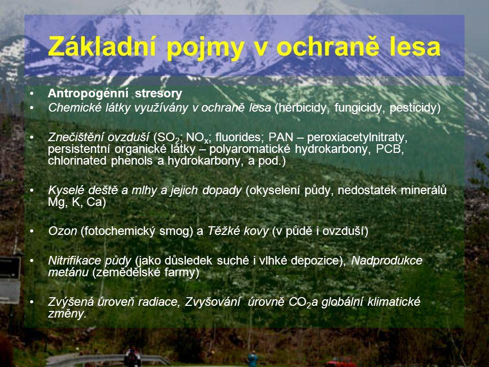 Antropogénní stresory Chemické látky využívány v ochraně lesa (herbicidy, fungicidy, pesticidy) Znečištění ovzduší (SO 2 ; NO x ; fluorides; PAN – per