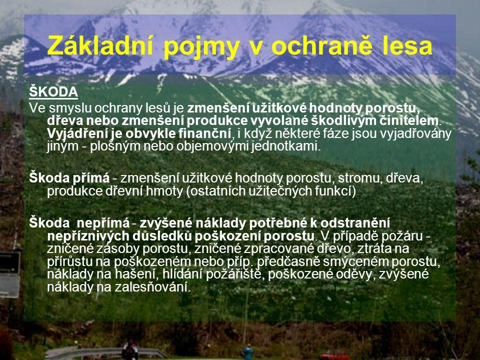 ŠKODA Ve smyslu ochrany lesů je zmenšení užitkové hodnoty porostu, dřeva nebo zmenšení produkce vyvolané škodlivým činitelem. Vyjádření je obvykle fin