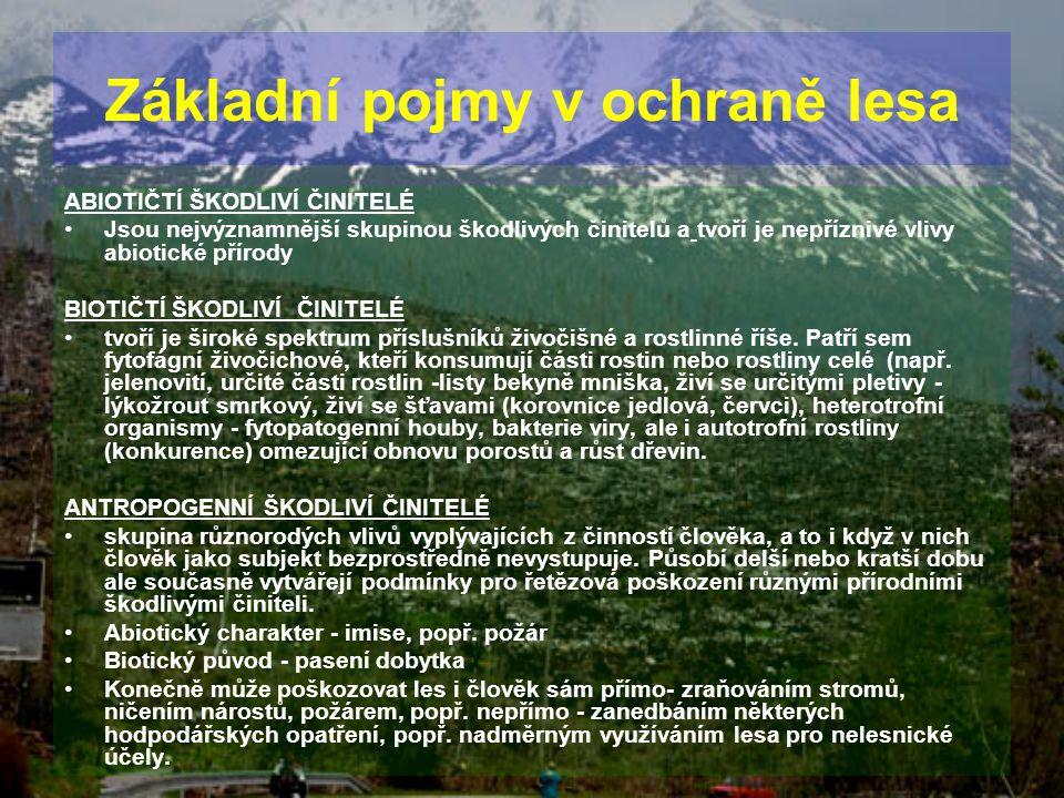 ABIOTIČTÍ ŠKODLIVÍ ČINITELÉ Jsou nejvýznamnější skupinou škodlivých činitelů a tvoří je nepříznivé vlivy abiotické přírody BIOTIČTÍ ŠKODLIVÍ ČINITELÉ