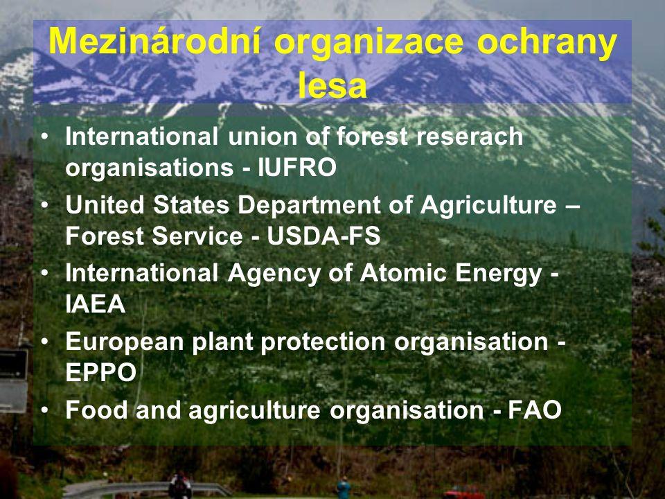 Mezinárodní organizace ochrany lesa International union of forest reserach organisations - IUFRO United States Department of Agriculture – Forest Serv