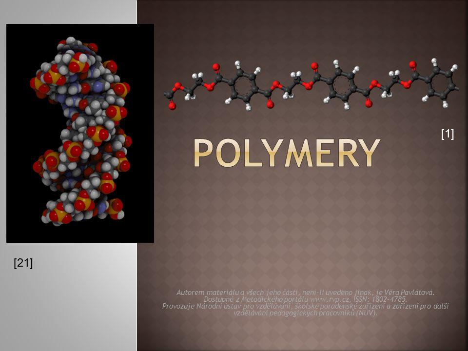 vzorec monomeru název monomeruvzorec polymerunázev polymeru CH 2 =CH-CH=CH 2 buta-1,3-dien (butadien) -[ CH 2 -CH=CH-CH 2 ] n - polybutadien (butadienový kaučuk) (Buna) lepidla, pryže, pneumatiky [27] [28] [29] Elastomery lze natahovat až na desetinásobek jejich délky, po skončení deformace se rychle vracejí do původního stavu.