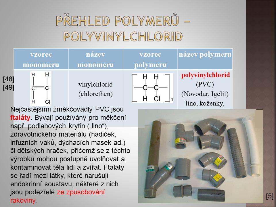 vzorec monomeru název monomeru vzorec polymeru název polymeru vinylchlorid (chlorethen) polyvinylchlorid (PVC) (Novodur, Igelit) lino, koženky, tyče,