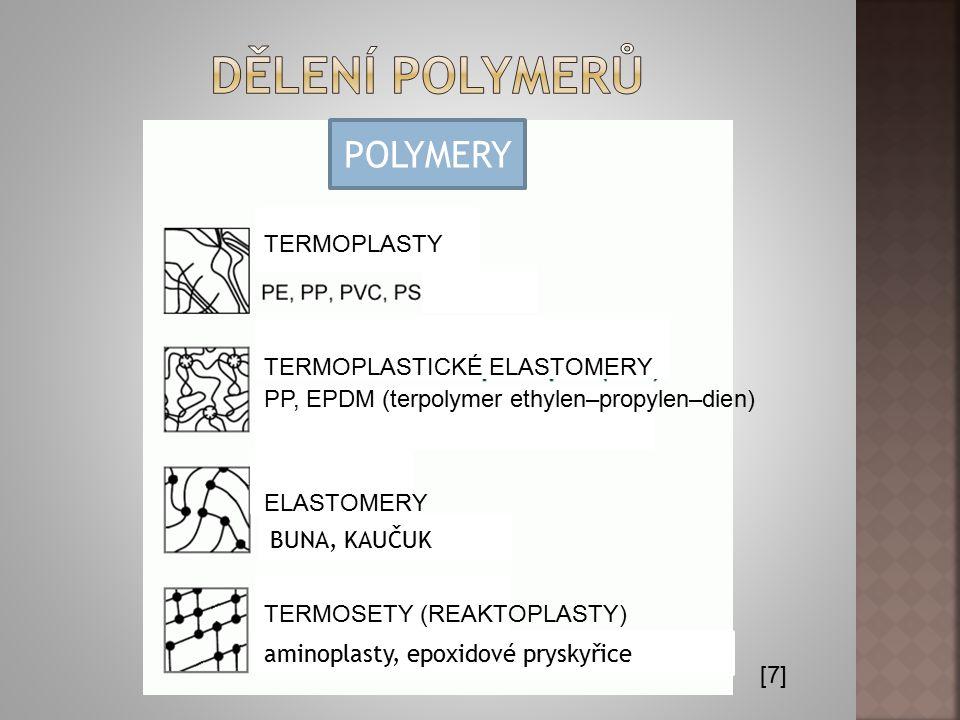 [7] TERMOPLASTY TERMOSETY (REAKTOPLASTY) ELASTOMERY TERMOPLASTICKÉ ELASTOMERY PP, EPDM (terpolymer ethylen–propylen–dien) aminoplasty, epoxidové prysk