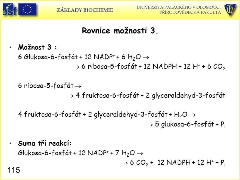 115 Rovnice možnosti 3. Možnost 3 : 6 Glukosa-6-fosfát + 12 NADP + + 6 H 2 O   6 ribosa-5-fosfát + 12 NADPH + 12 H + + 6 CO 2 6 ribosa-5-fosfát  