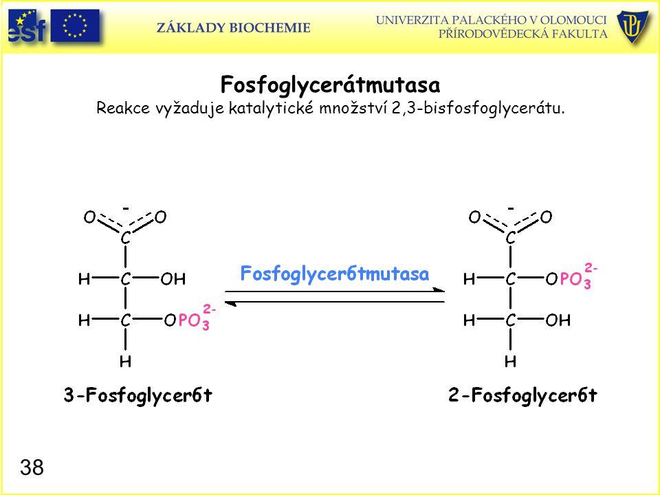 38 Fosfoglycerátmutasa Reakce vyžaduje katalytické množství 2,3-bisfosfoglycerátu.