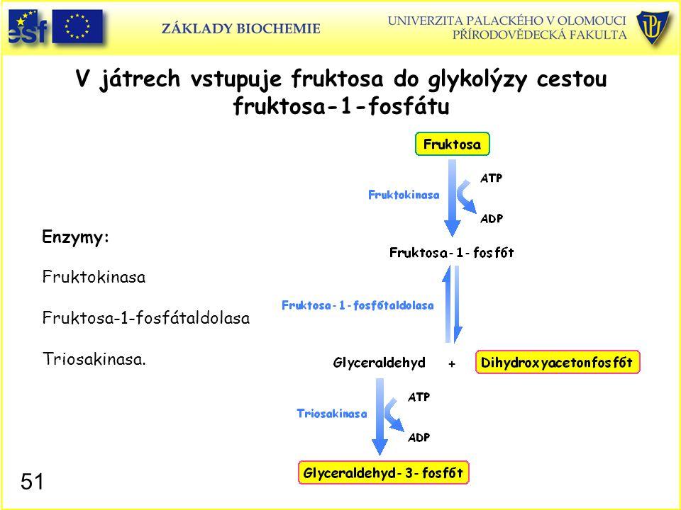 51 V játrech vstupuje fruktosa do glykolýzy cestou fruktosa-1-fosfátu Enzymy: Fruktokinasa Fruktosa-1-fosfátaldolasa Triosakinasa.