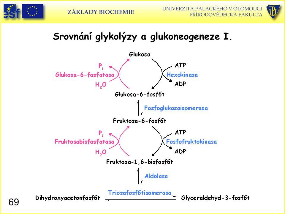 69 Srovnání glykolýzy a glukoneogeneze I.