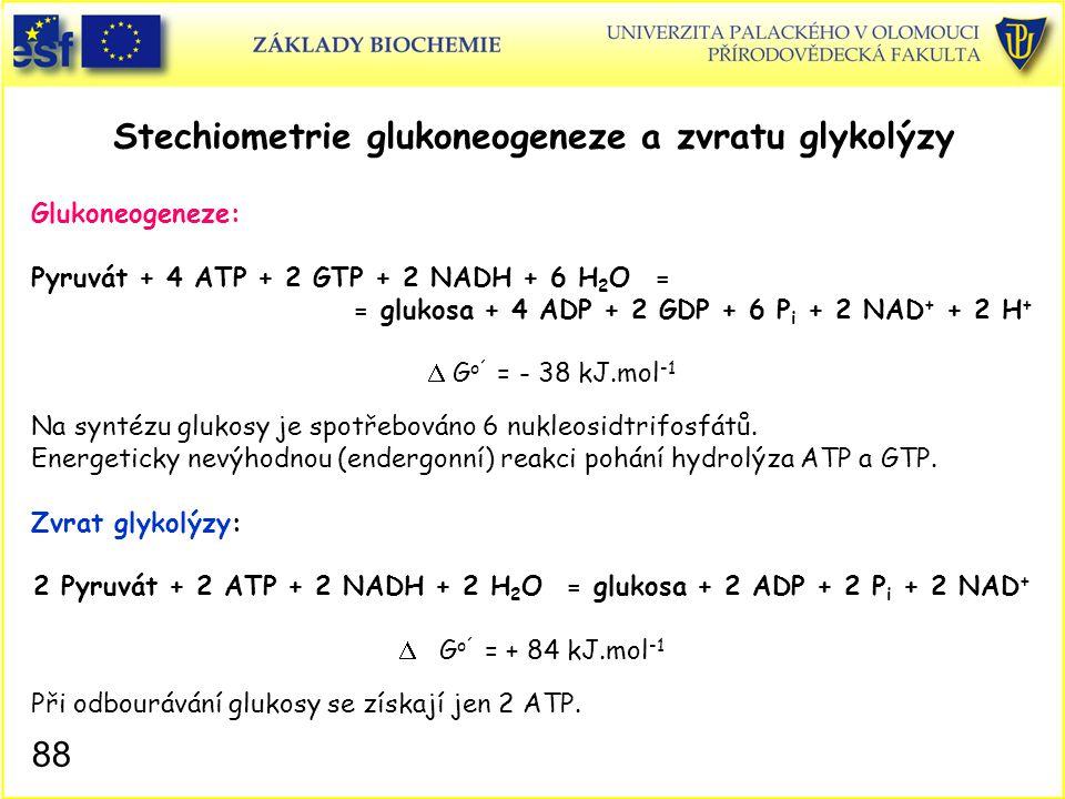 88 Stechiometrie glukoneogeneze a zvratu glykolýzy Glukoneogeneze: Pyruvát + 4 ATP + 2 GTP + 2 NADH + 6 H 2 O = = glukosa + 4 ADP + 2 GDP + 6 P i + 2