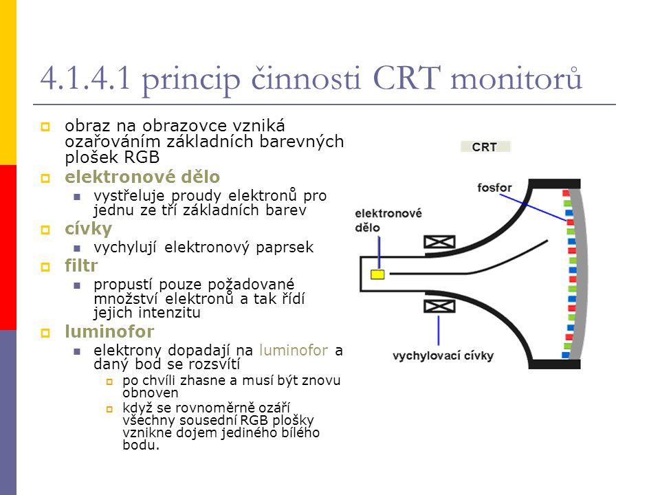 4.1.4.1 princip činnosti CRT monitorů  obraz na obrazovce vzniká ozařováním základních barevných plošek RGB  elektronové dělo vystřeluje proudy elek