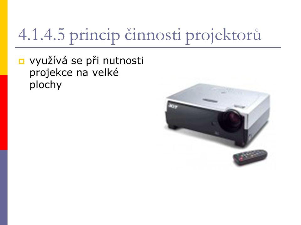 4.1.4.5 princip činnosti projektorů  využívá se při nutnosti projekce na velké plochy