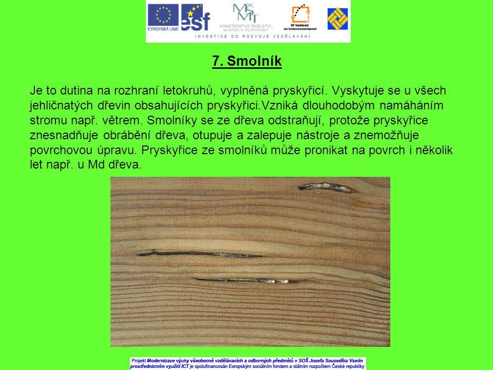 7. Smolník Je to dutina na rozhraní letokruhů, vyplněná pryskyřicí. Vyskytuje se u všech jehličnatých dřevin obsahujících pryskyřici.Vzniká dlouhodobý