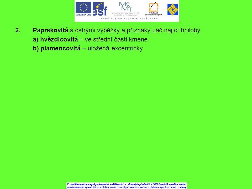 2. Paprskovitá s ostrými výběžky a příznaky začínající hniloby a) hvězdicovitá – ve střední části kmene b) plamencovitá – uložená excentricky