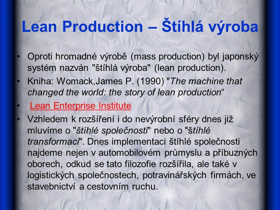 Lean Production – Štíhlá výroba Oproti hromadné výrobě (mass production) byl japonský systém nazván