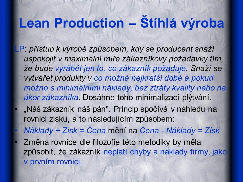 Lean Production – Štíhlá výroba LP: přístup k výrobě způsobem, kdy se producent snaží uspokojit v maximální míře zákazníkovy požadavky tím, že bude vy