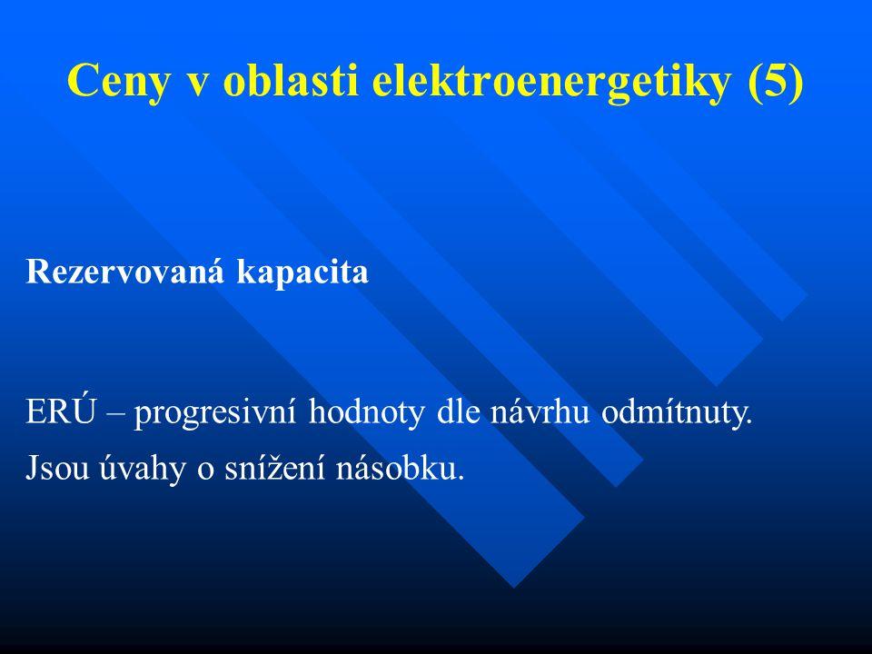 Ceny v oblasti elektroenergetiky (5) Rezervovaná kapacita ERÚ – progresivní hodnoty dle návrhu odmítnuty.