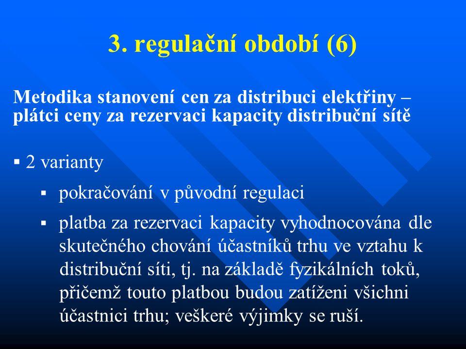 3. regulační období (6) Metodika stanovení cen za distribuci elektřiny – plátci ceny za rezervaci kapacity distribuční sítě  2 varianty  pokračování