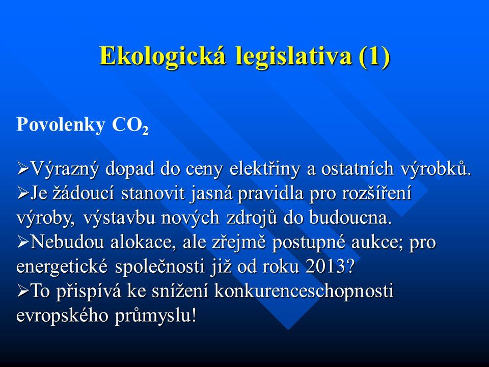 Ekologická legislativa (1) Povolenky CO 2  Výrazný dopad do ceny elektřiny a ostatních výrobků.