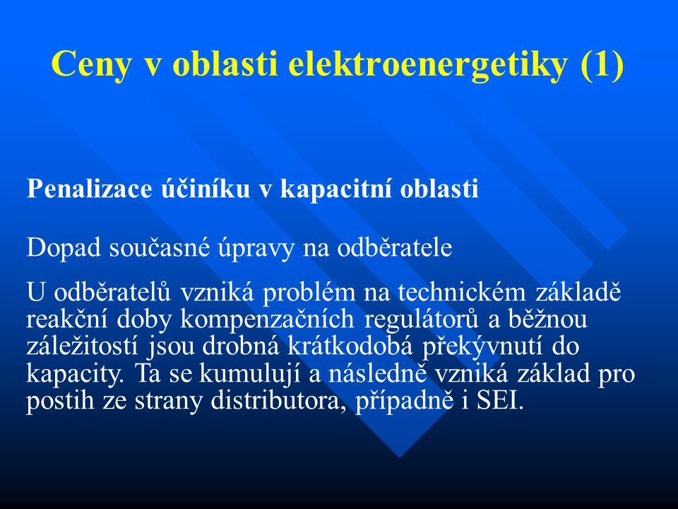 Ceny v oblasti elektroenergetiky (1) Penalizace účiníku v kapacitní oblasti Dopad současné úpravy na odběratele U odběratelů vzniká problém na technickém základě reakční doby kompenzačních regulátorů a běžnou záležitostí jsou drobná krátkodobá překývnutí do kapacity.