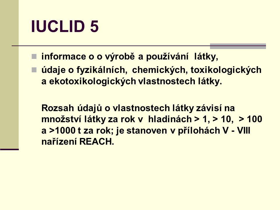 IUCLID 5 informace o o výrobě a používání látky, údaje o fyzikálních, chemických, toxikologických a ekotoxikologických vlastnostech látky.
