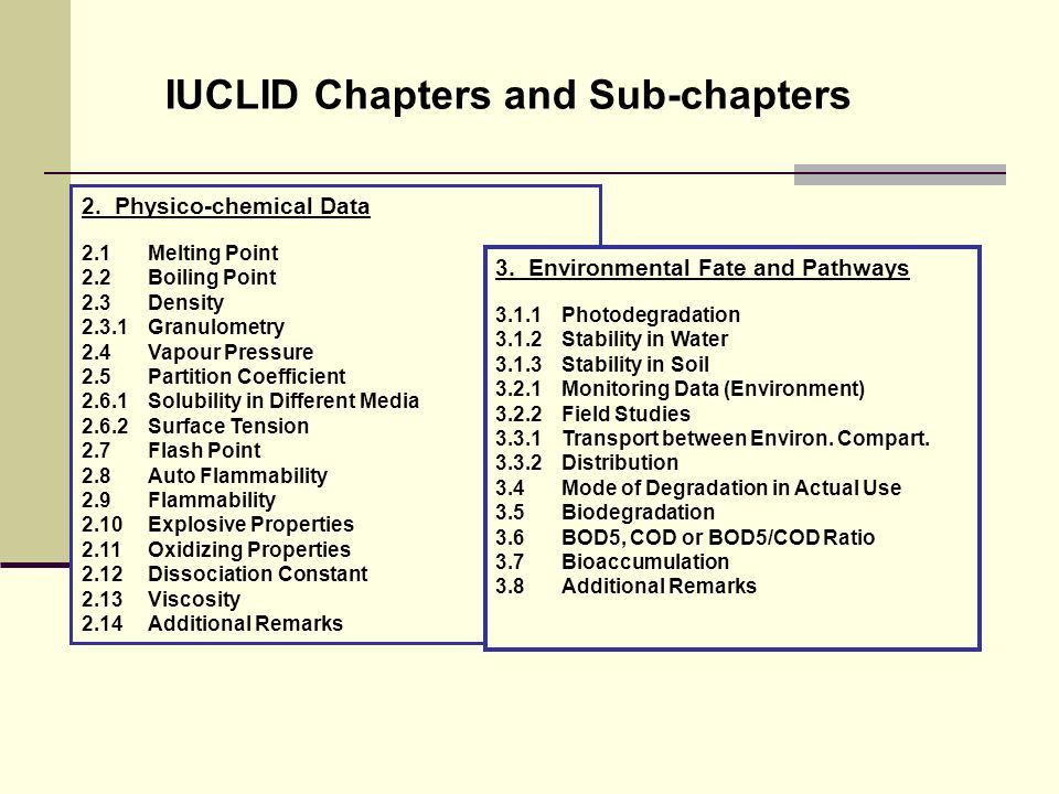 IUCLID Chapters and Sub-chapters 2.