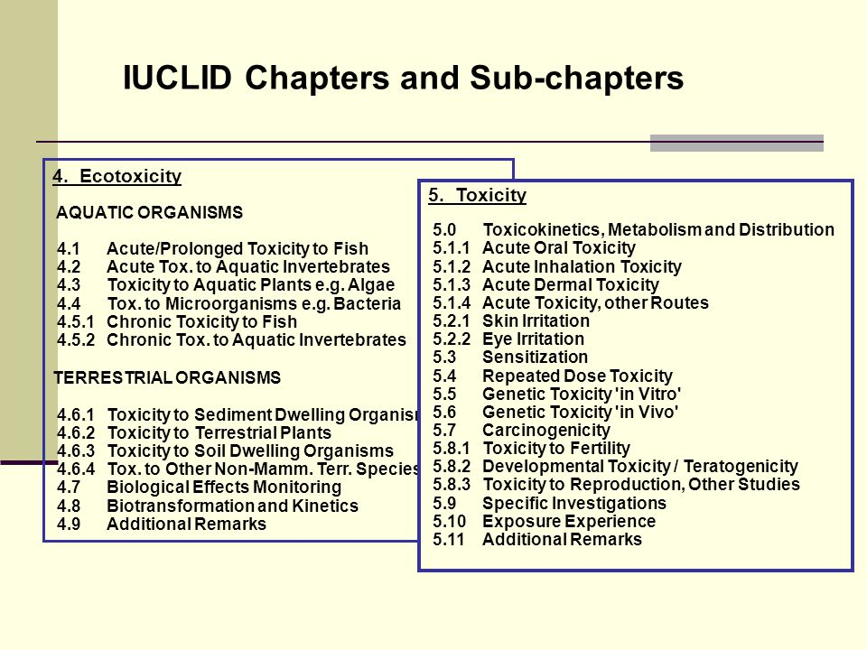 IUCLID Chapters and Sub-chapters 4.