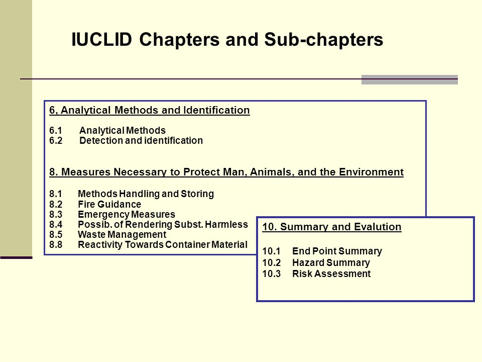 IUCLID Chapters and Sub-chapters 6, Analytical Methods and Identification 6.1 Analytical Methods 6.2 Detection and identification 8.