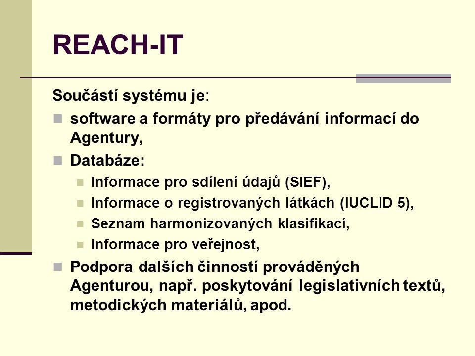 REACH-IT Součástí systému je: software a formáty pro předávání informací do Agentury, Databáze: Informace pro sdílení údajů (SIEF), Informace o registrovaných látkách (IUCLID 5), Seznam harmonizovaných klasifikací, Informace pro veřejnost, Podpora dalších činností prováděných Agenturou, např.