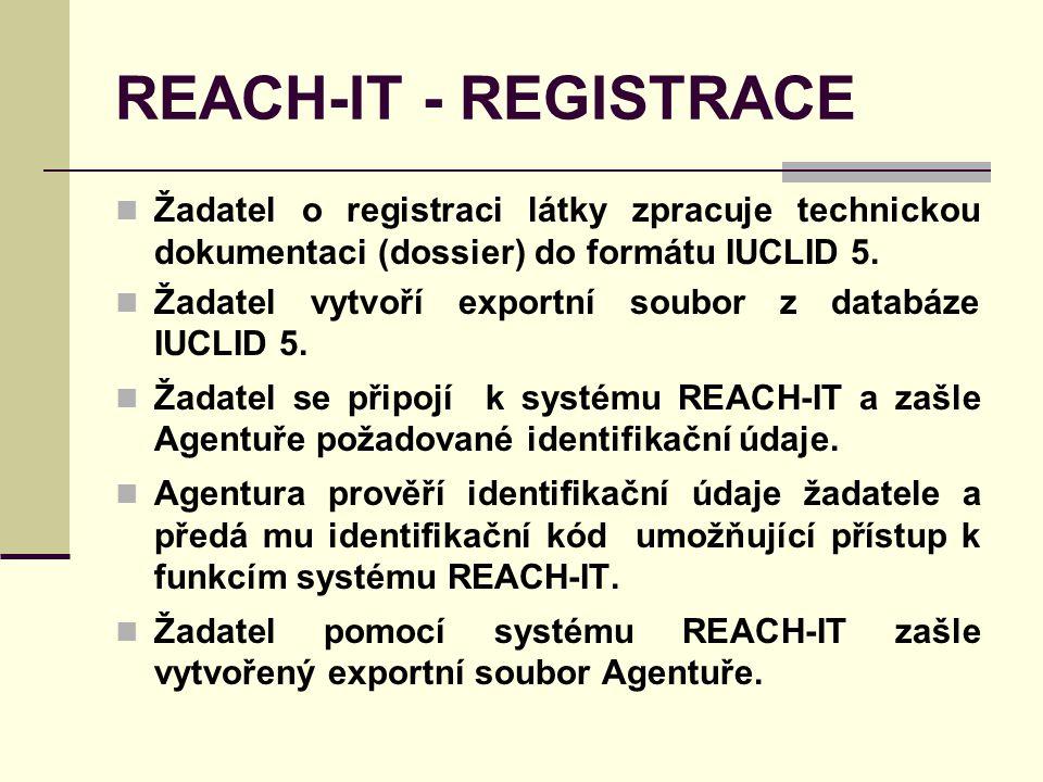 REACH-IT - REGISTRACE Žadatel o registraci látky zpracuje technickou dokumentaci (dossier) do formátu IUCLID 5.