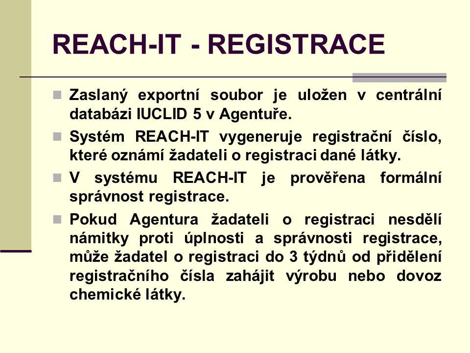 REACH-IT - REGISTRACE Zaslaný exportní soubor je uložen v centrální databázi IUCLID 5 v Agentuře.
