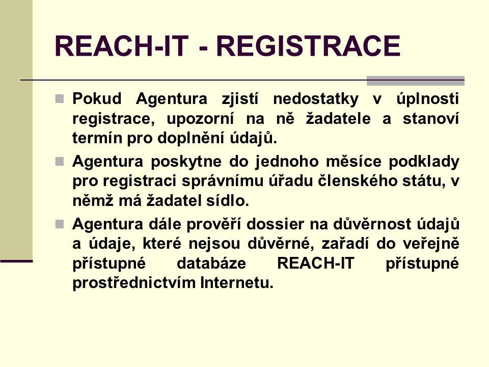 REACH-IT - REGISTRACE Pokud Agentura zjistí nedostatky v úplnosti registrace, upozorní na ně žadatele a stanoví termín pro doplnění údajů.
