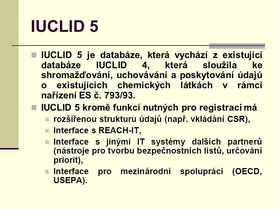 IUCLID 5 IUCLID 5 je databáze, která vychází z existující databáze IUCLID 4, která sloužila ke shromažďování, uchovávání a poskytování údajů o existujících chemických látkách v rámci nařízení ES č.