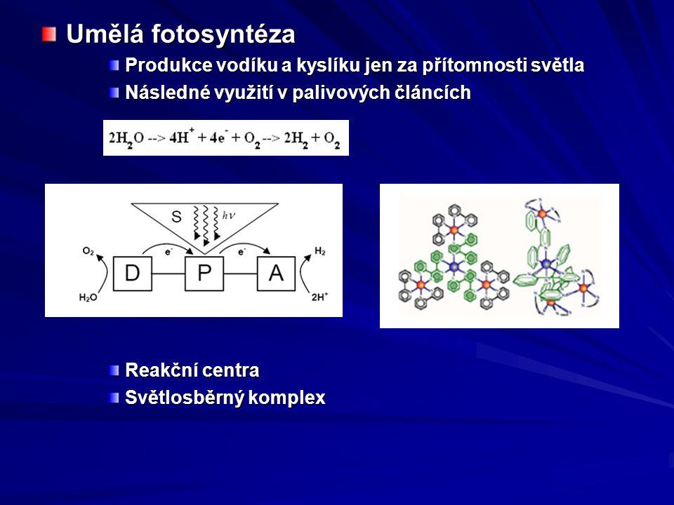 Umělá fotosyntéza Produkce vodíku a kyslíku jen za přítomnosti světla Následné využití v palivových článcích Reakční centra Světlosběrný komplex