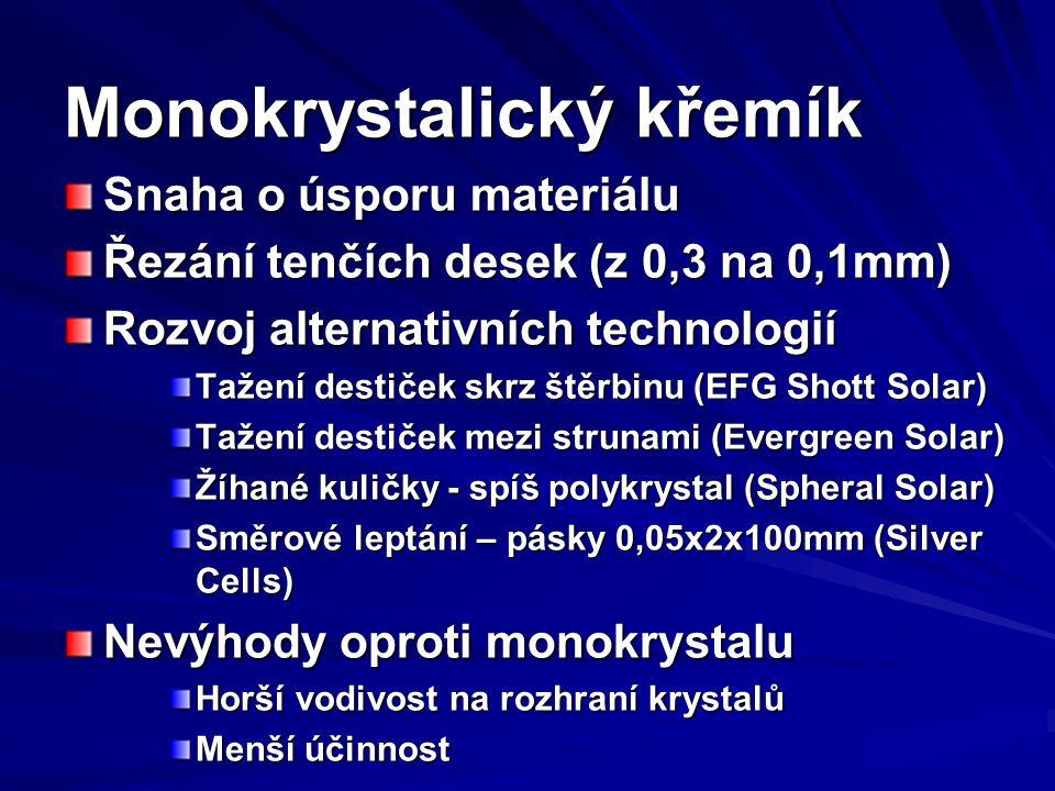 Monokrystalický křemík Snaha o úsporu materiálu Řezání tenčích desek (z 0,3 na 0,1mm) Rozvoj alternativních technologií Tažení destiček skrz štěrbinu (EFG Shott Solar) Tažení destiček mezi strunami (Evergreen Solar) Žíhané kuličky - spíš polykrystal (Spheral Solar) Směrové leptání – pásky 0,05x2x100mm (Silver Cells) Nevýhody oproti monokrystalu Horší vodivost na rozhraní krystalů Menší účinnost