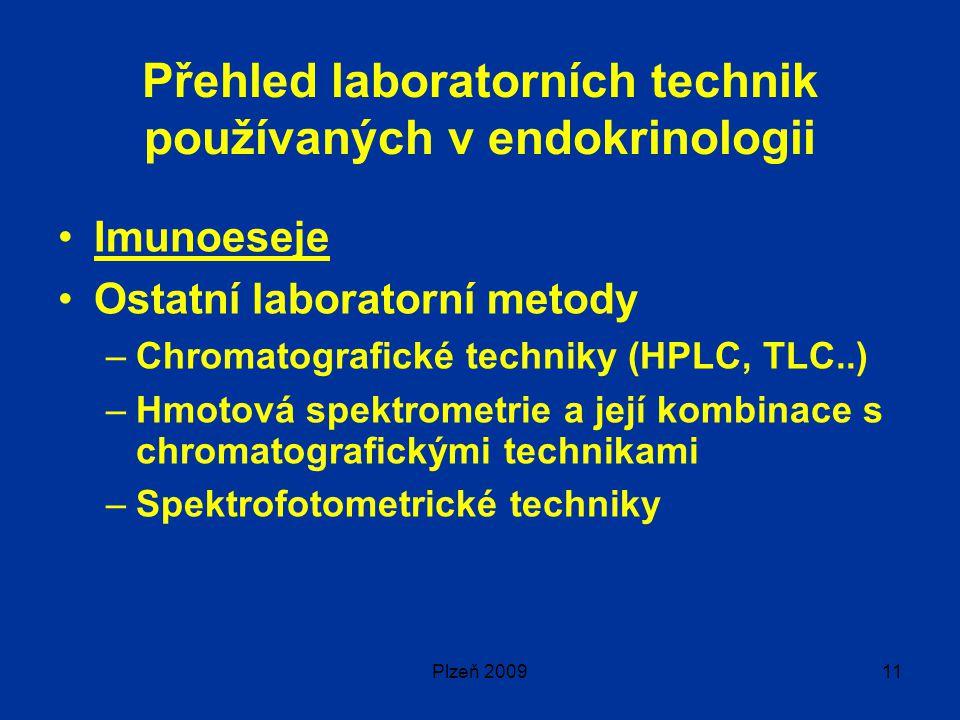 Plzeň 200911 Přehled laboratorních technik používaných v endokrinologii Imunoeseje Ostatní laboratorní metody –Chromatografické techniky (HPLC, TLC..) –Hmotová spektrometrie a její kombinace s chromatografickými technikami –Spektrofotometrické techniky